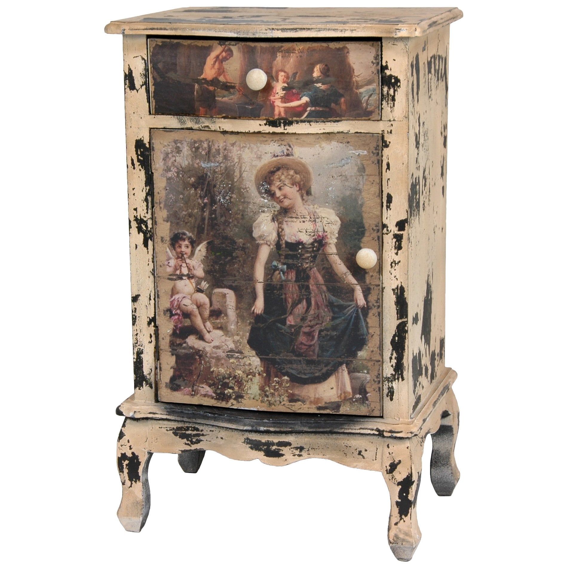 Rustic Victorian Children End Table Cabinet (China)