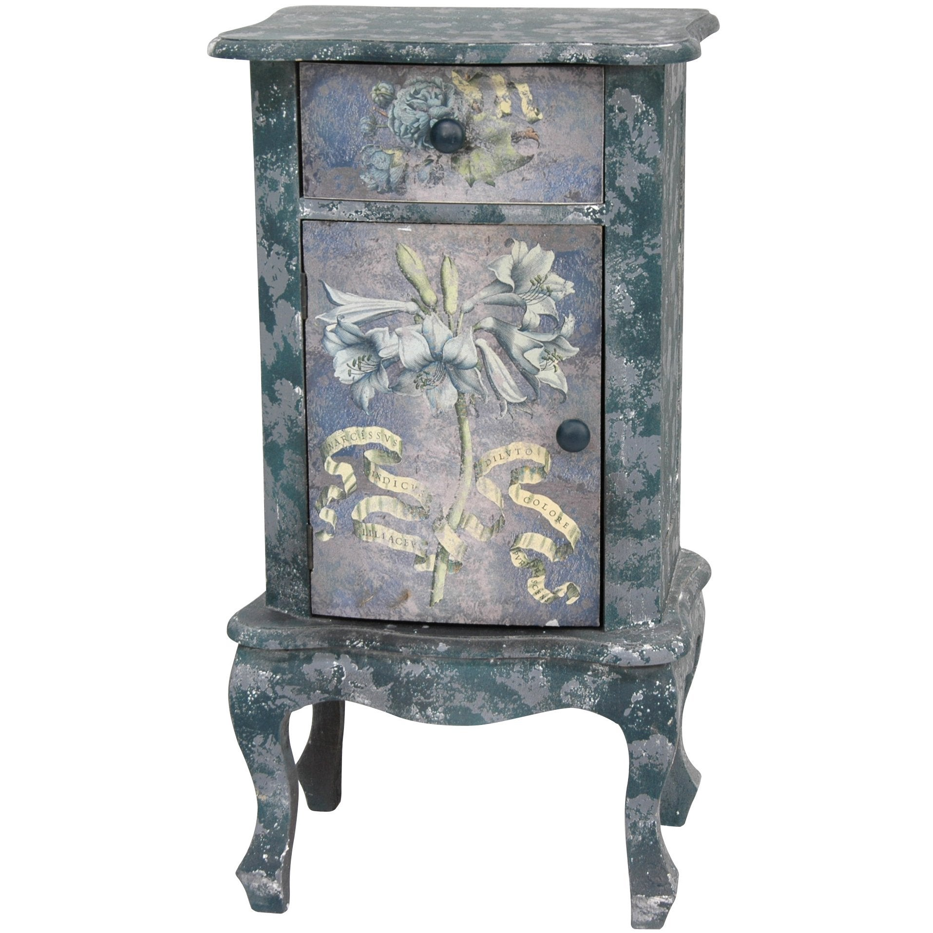 Rustic Blue Floral End Table Cabinet (China)