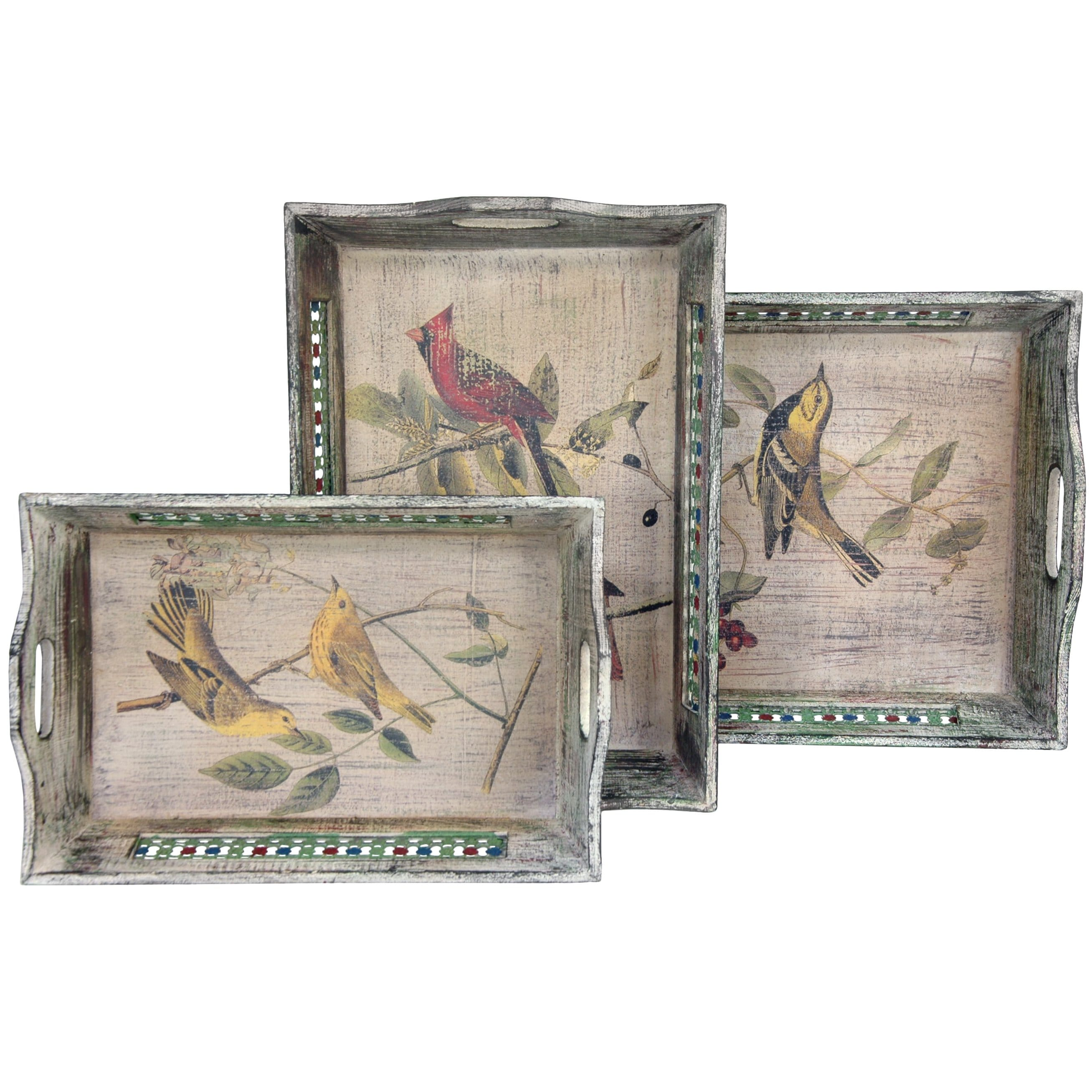 Rustic Bird Trays - Set of Three (China)