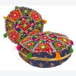 Traditional Mandara Indian Poufs (Set of 2)