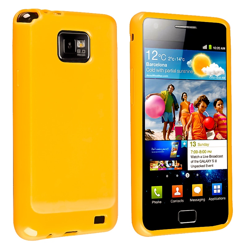 Orange Jelly TPU Rubber Skin Case for Samsung Galaxy S II i9100 - Thumbnail 0