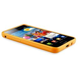 Orange Jelly TPU Rubber Skin Case for Samsung Galaxy S II i9100 - Thumbnail 2
