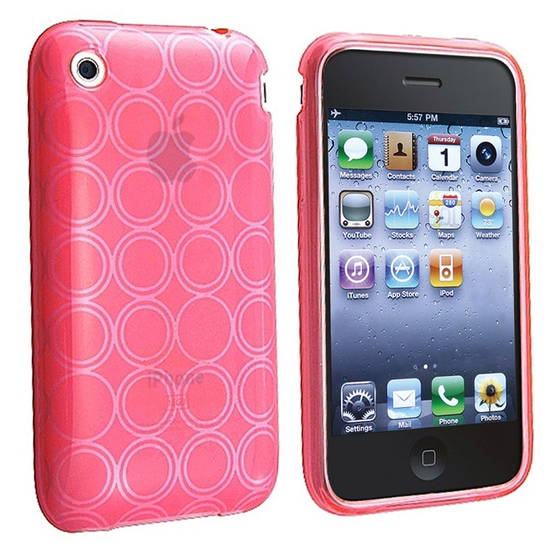 BasAcc Clear Hot Pink Circle TPU Rubber Case for Apple iPhone 3G/ 3GS