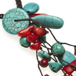 Long Dangle Cluster Turquoise-Coral Wax Rope Necklace (Thailand) - Thumbnail 1