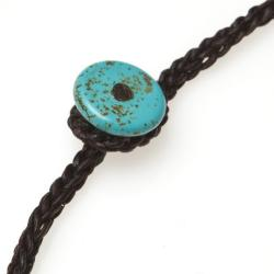 Long Dangle Cluster Turquoise-Coral Wax Rope Necklace (Thailand) - Thumbnail 2