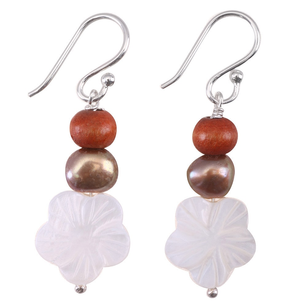 Freshwater Pearl, Mother of Pearl Flowers & Sterling Silver Earrings (Thailand)