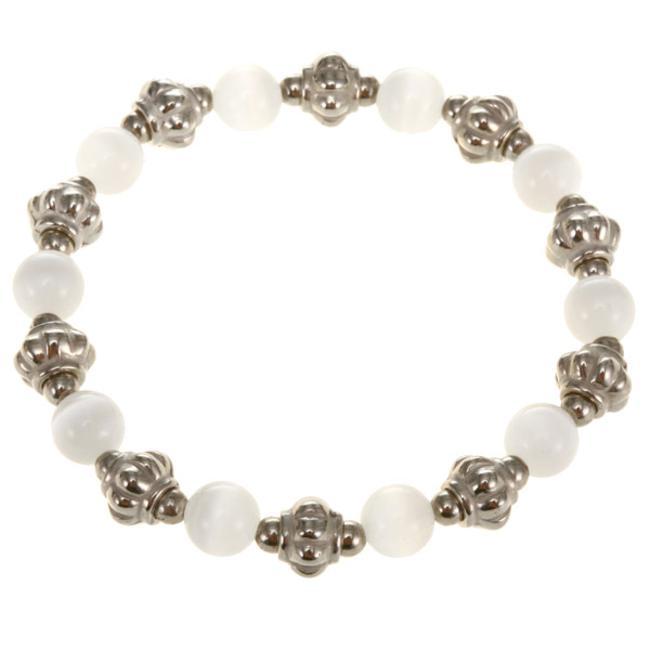 White Glass Beads Bracelet (Thailand)