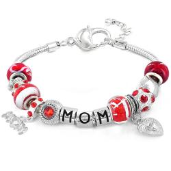 West Coast Jewelry Silverplated Red Crystal and Bead 'Mom' Themed Bracelet