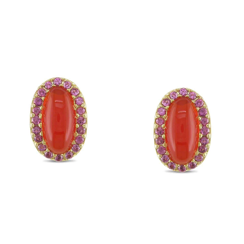 Miadora 14k Yellow Gold 7 1/5ct TGW Opal and Rhodolite Stud Earrings