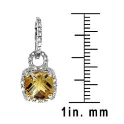 Sterling Silver Citrine and 1/8ct TDW Diamond Earrings (H-I, I2-I3)