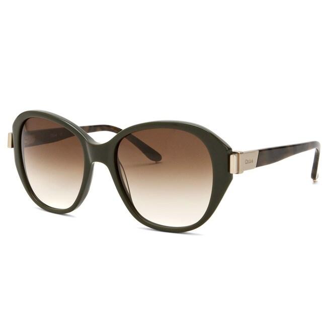 1fd218adde6ed Shop Chloe Women s Military Green Fashion Sunglasses Eyewear - Free  Shipping Today - Overstock.com - 6671078
