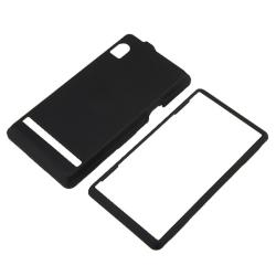 BasAcc Black Snap-on Rubber Coated Case for Motorola A855 Droid - Thumbnail 1