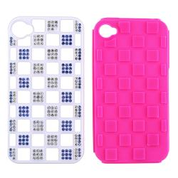 BasAcc Hot Pink TPU/ White Hybrid Diamond Case for Apple iPhone 4/ 4S - Thumbnail 1