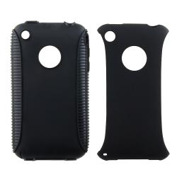 BasAcc Black TPU/ Black Plastic Hybrid Case for Apple iPhone 3G/ 3GS - Thumbnail 1