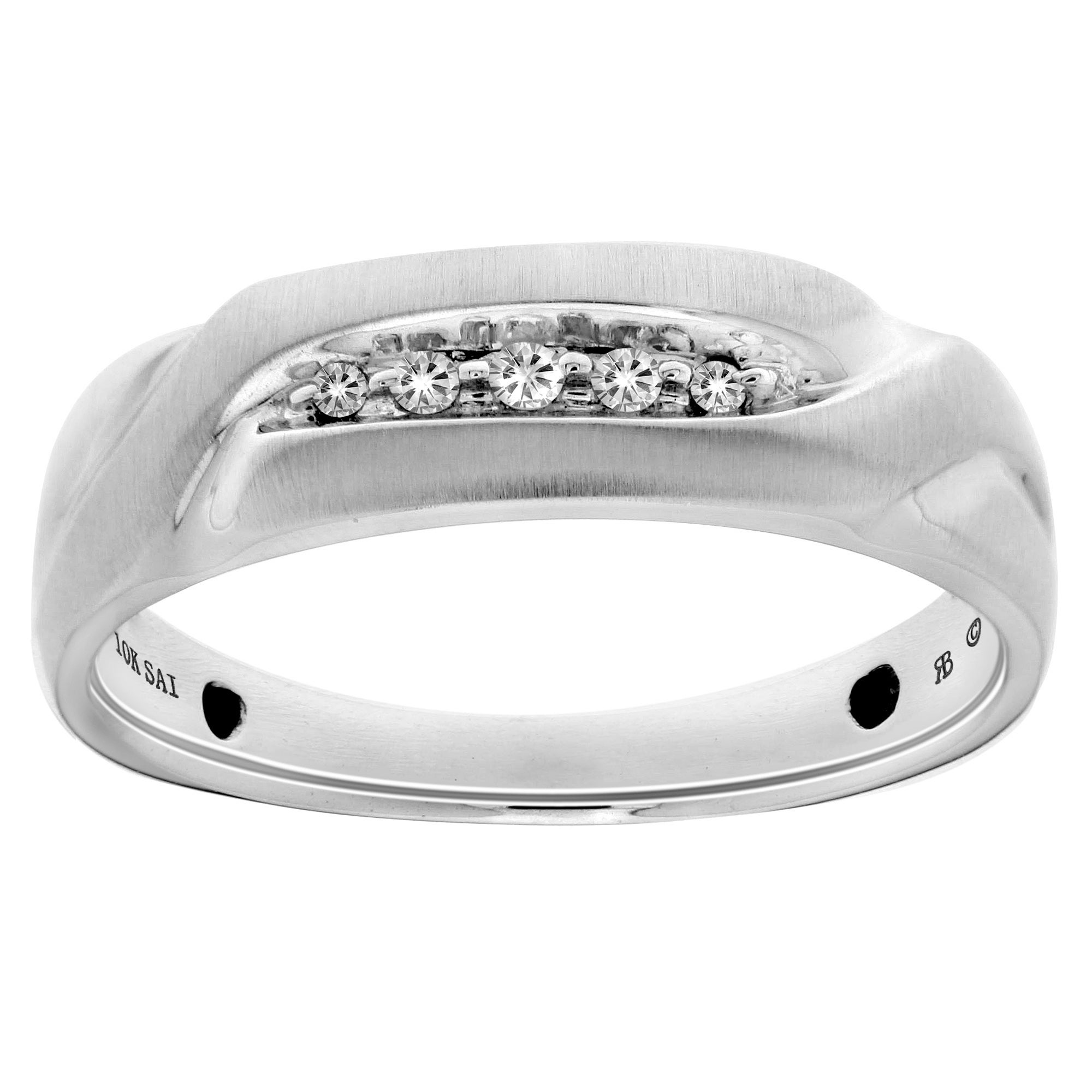 10k White Gold Men's Diamond Accent 5-stone Ring