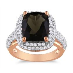 Miadora 18k Rose Goldplated Silver 5 1/4ct TGW Smoky Quartz and Sapphire Ring