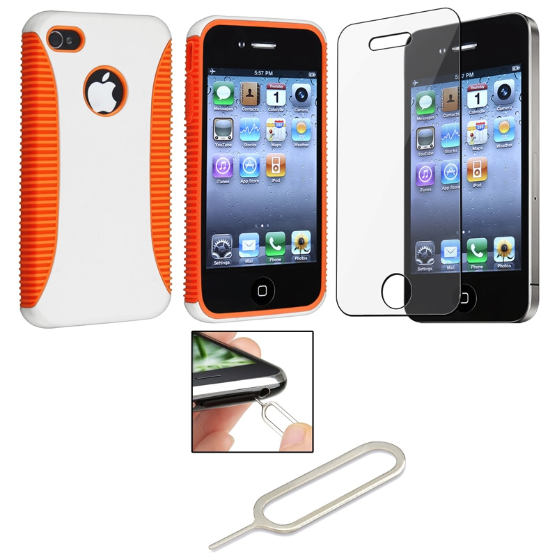 Orange Case/ Screen Protector/ Sim Card Eject Pin for Apple iPhone 4S
