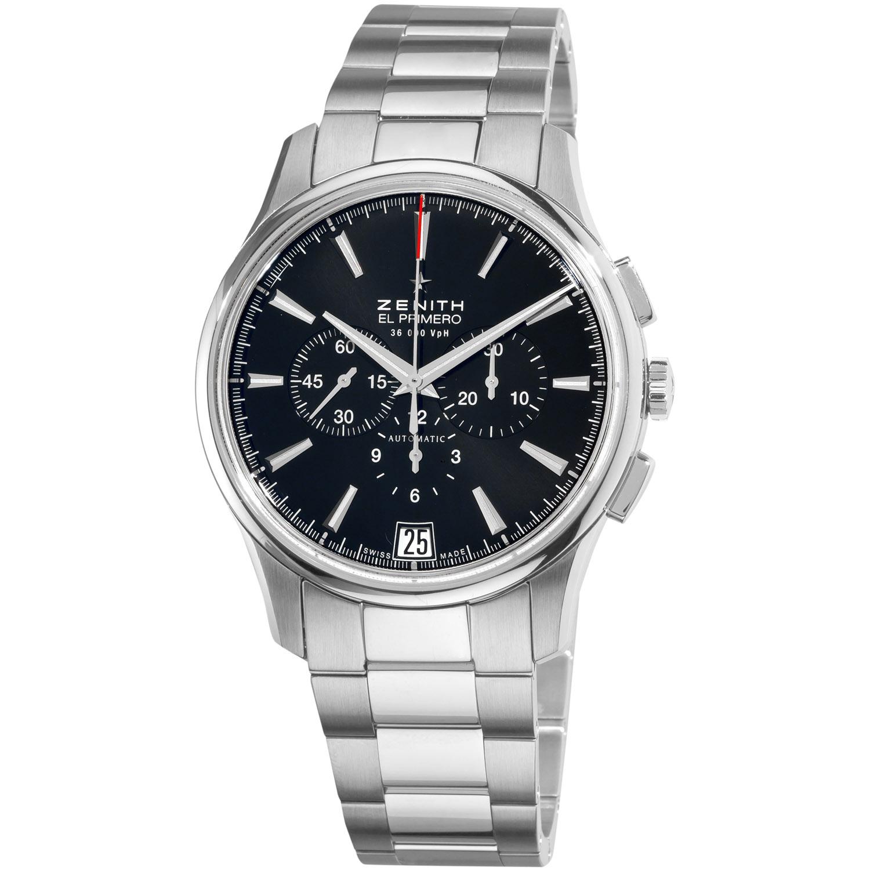 Zenith Men's 'El Primero' Black Dial Stainless Steel Watch