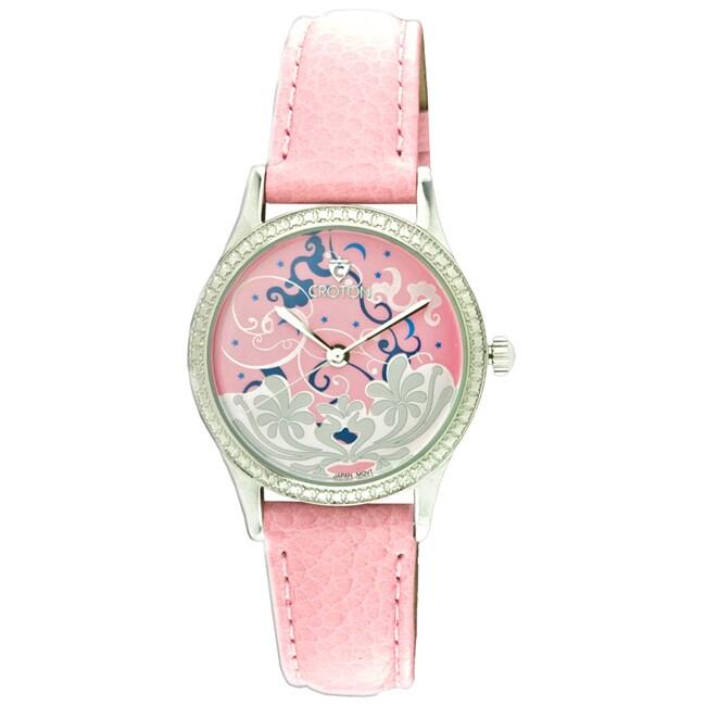 Croton Women's 'Tropics' Pink Genuine Leather Watch