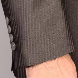 Men's Brown Striped Suit - Thumbnail 1