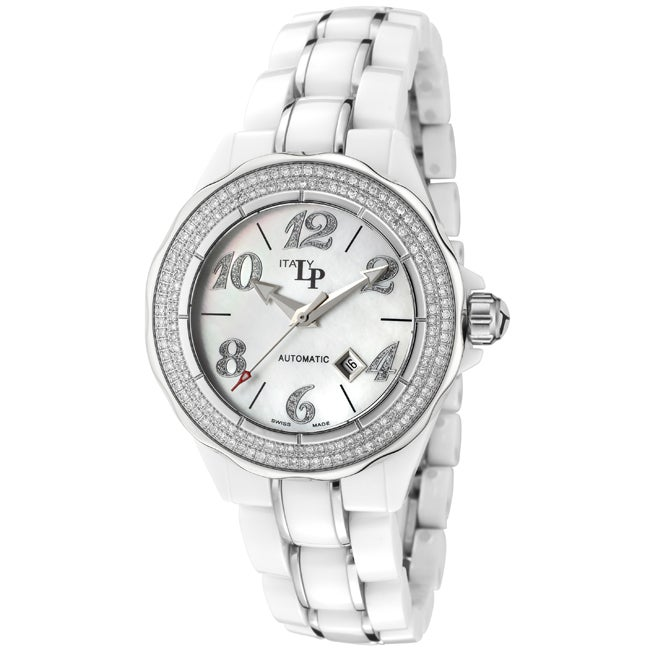 Lucien Piccard Women's 'Celano' White Ceramic Stainless Steel Watch