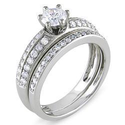 Miadora 14k White Gold 1ct TDW Diamond Bridal Ring Set (H-I, I2-I3)