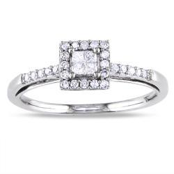 Miadora 14k White Gold 1/5ct TDW Diamond Halo Ring (G-H, I1-I2)