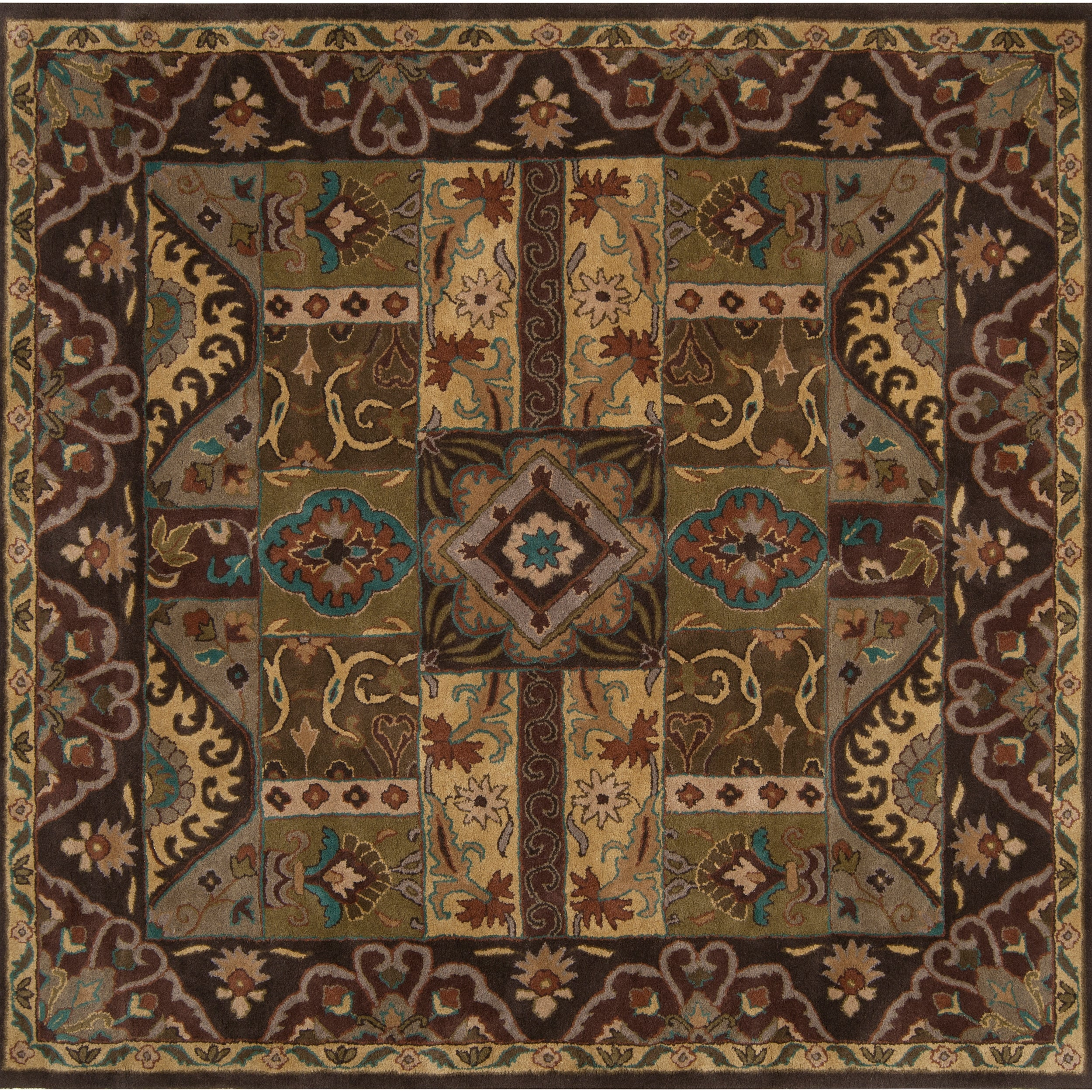 Hand-tufted Brown Kipper Wool Rug (8' Square)