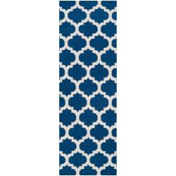 Hand-woven Blue Foptop Wool Rug (2'6 x 8')