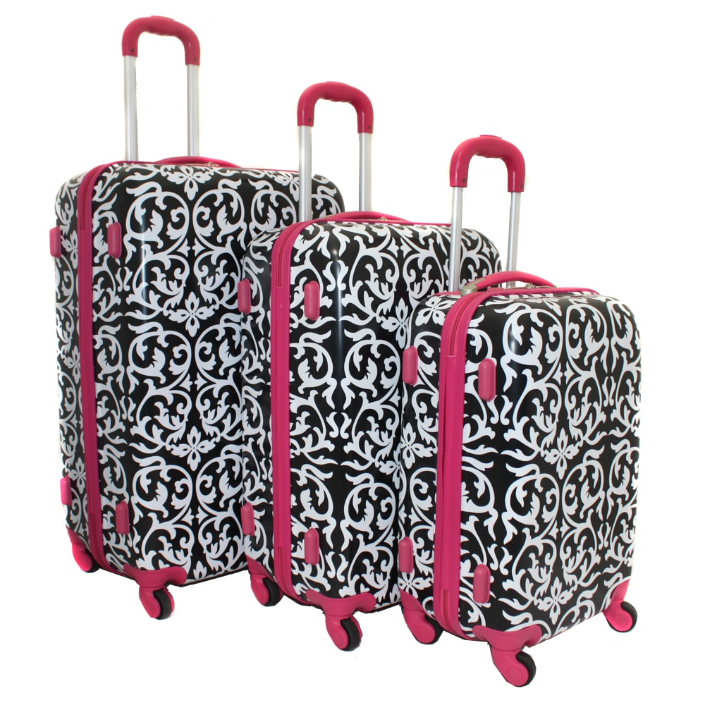 World Traveler Designer Prints Pink Trim Damask 3-piece Lightweight Hardside Spinner Luggage Set