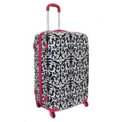 World Traveler Designer Prints Pink Trim Damask 3-piece Lightweight Hardside Spinner Luggage Set - Thumbnail 1