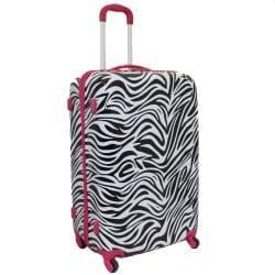World Traveler Designer Prints Pink Trim Zebra 3-piece Lightweight Hardside Spinner Luggage Set - Thumbnail 1