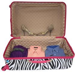 World Traveler Designer Prints Pink Trim Zebra 3-piece Lightweight Hardside Spinner Luggage Set - Thumbnail 2