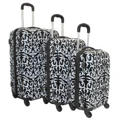 World Traveler Designer Prints Damask 3-piece Lightweight Hardside ...