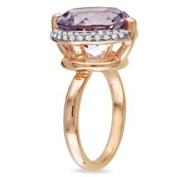 14k Pink Gold Rose de France and 1/4ct TDW Diamond Ring (G-H, SI1-SI2)