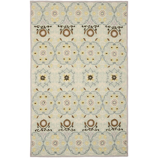 Safavieh Hand-hooked Chelsea Light Blue/ Ivory Wool Rug (7'6 x 9'9) - Thumbnail 0
