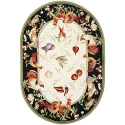 Safavieh Hand-hooked Roosters Ivory/ Black Wool Rug (4'6 x 6'6 Oval)
