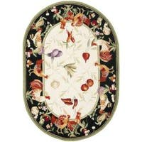 """Safavieh Hand-hooked Roosters Ivory/ Black Wool Rug - 4'6"""" x 6'6"""" oval"""