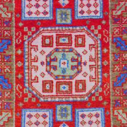 Indo Hand-knotted Kazak Red/ Gold Wool Rug (2' x 3')