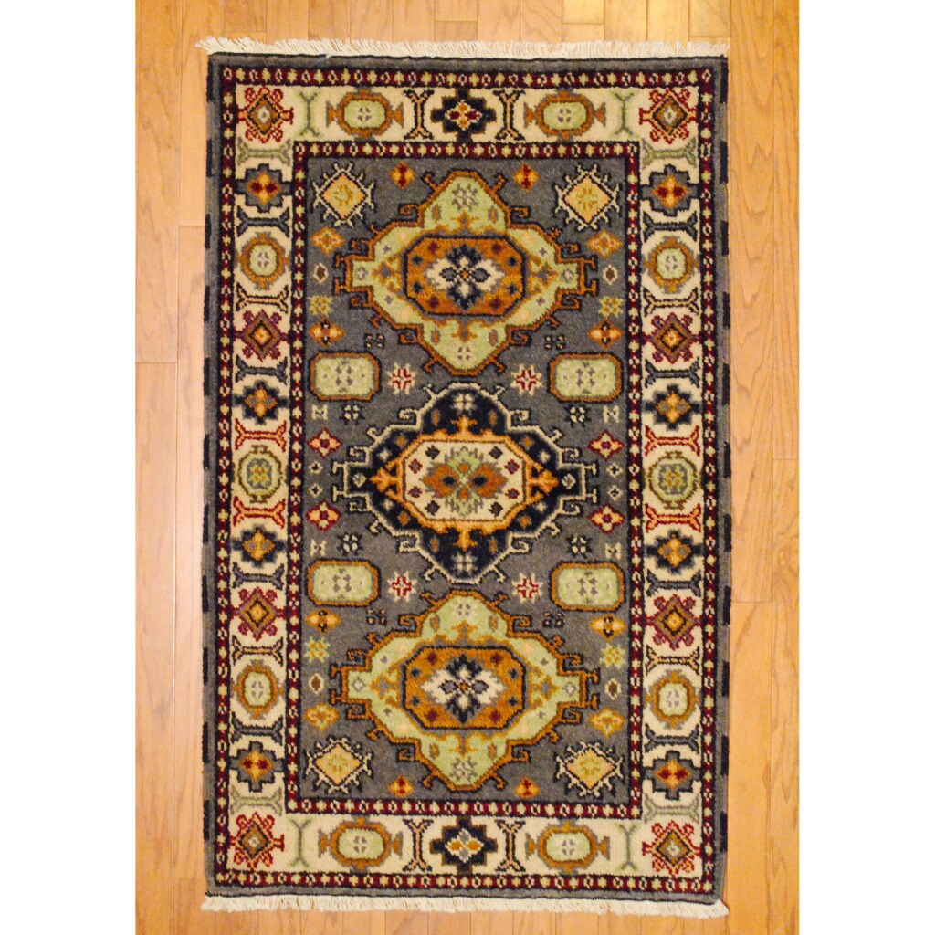 Indo Hand-knotted Kazak Gray/ Ivory Wool Rug (3' x 5')