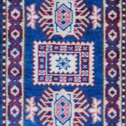 Indo Hand-knotted Kazak Teal/ Gold Wool Rug (2' x 3') - Thumbnail 1