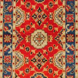 Indo Hand-knotted Kazak Orange/ Red Wool Rug (3' x 5') - Thumbnail 1