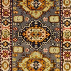 Indo Hand-knotted Kazak Gray/ Ivory Wool Rug (3' x 5') - Thumbnail 1