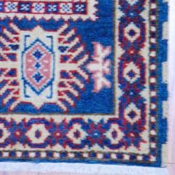 Indo Hand-knotted Kazak Teal/ Gold Wool Rug (2' x 3') - Thumbnail 2