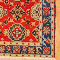 Indo Hand-knotted Kazak Orange/ Red Wool Rug (3' x 5') - Thumbnail 2