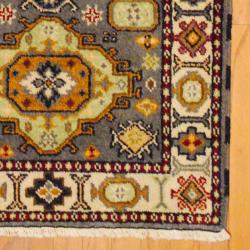 Indo Hand-knotted Kazak Gray/ Ivory Wool Rug (3' x 5') - Thumbnail 2
