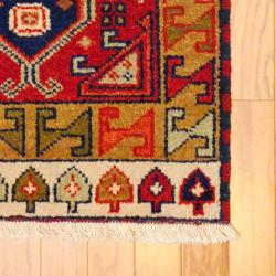 Indo Hand-knotted Kazak Red/ Ivory Wool Rug (2' x 4') - Thumbnail 1