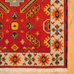 Indo Hand-knotted Kazak Orange/ Beige Wool Rug (3' x 5')