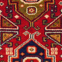 Indo Hand-knotted Kazak Red/ Ivory Wool Rug (2' x 4') - Thumbnail 2