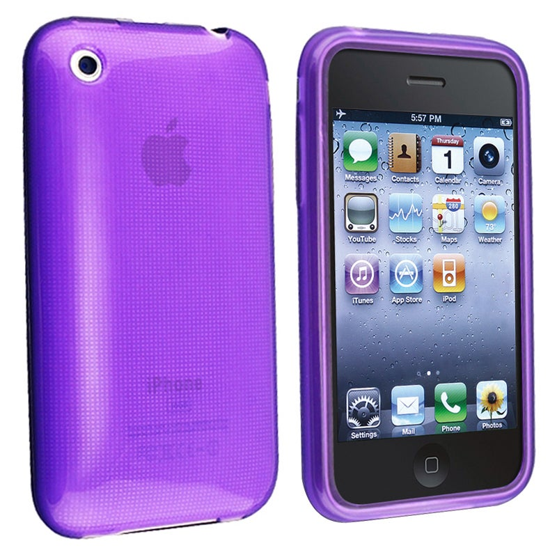 BasAcc Clear Purple TPU Rubber Case for Apple iPhone 3G/ 3GS